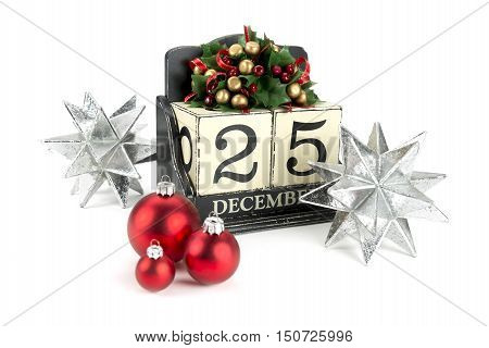 Christmas calendar with 25th December on wooden blocks