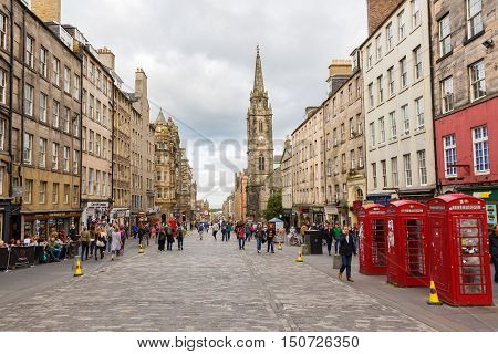 Royal Mile In The Old Town Of Edinburgh, Scotland