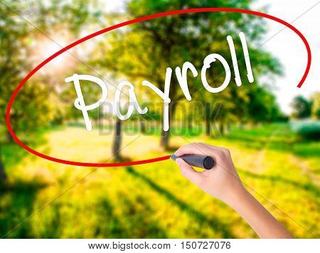 Woman Hand Writing Payroll With A Marker Over Transparent Board