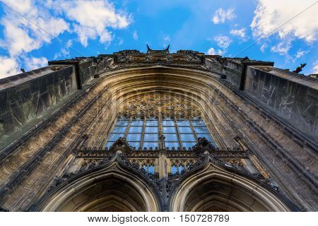 low angle view of the Lamberts Church in Muenster, Germany