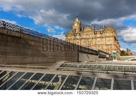 Hotel Balmoral in Edinburgh, Scotland, seen over the roof of the Waverly Station
