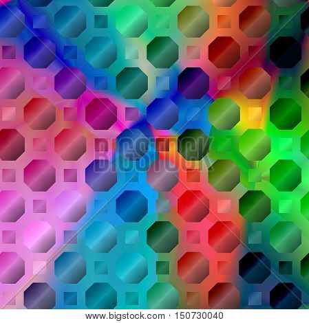Abstract coloring background of the spectrum gradient with visual lighting,mosaic and octagon effects.