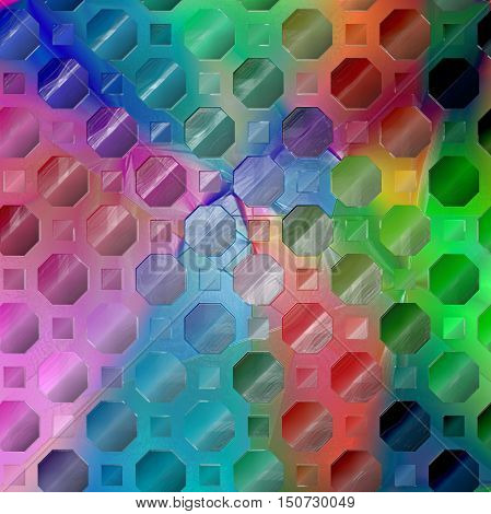 Abstract coloring background of the spectrum gradient with visual lighting,octagon,mosaic and plastic wrap  effects.