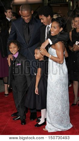 Will Smith, Jada Pinkett Smith and family at the Los Angeles premiere of 'The Pursuit of Happyness' held at the Mann Village Theater in Westwood, USA on December 7, 2006.