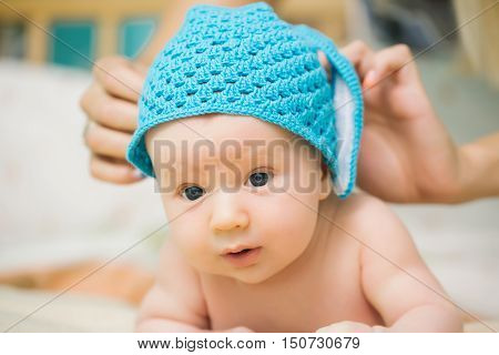 Baby Boy With Blue Hat
