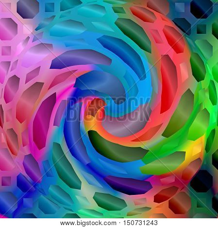 Abstract coloring background of the spectrum gradient with visual lighting,mosaic,octagon,spherize and twirl effects