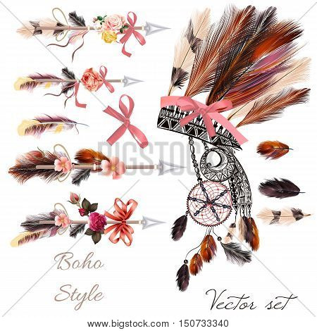 Boho fashion set from vector decorative elements head dress arrows feathers and flowers. Tribal style