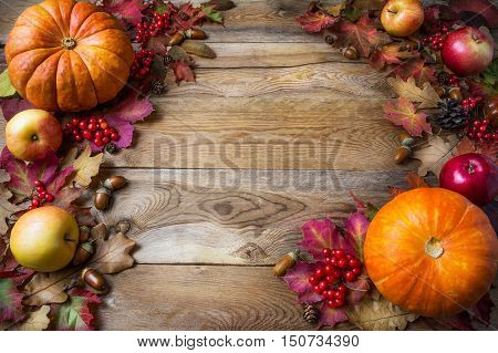 Thanksgiving or fall concept with pumpkins and apples copy space . Thanksgiving background with seasonal vegetables and fruits. Fall background.