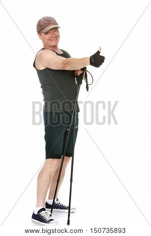 The concept of sports lifestyle and maintenance of health in adulthood. Fifty-year-old man, engaged in Nordic walking with special poles. Isolated on white background