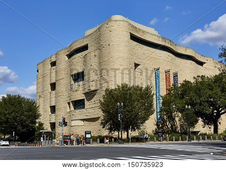 Washington DC USA - October 2 2016: Street view of the National American Indian Museum at Independence and Fourth Street