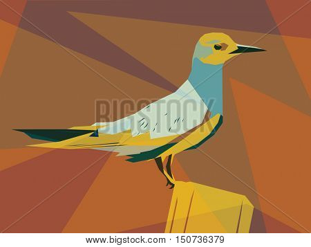 Colorful vector illustration of a seabird perched on a post