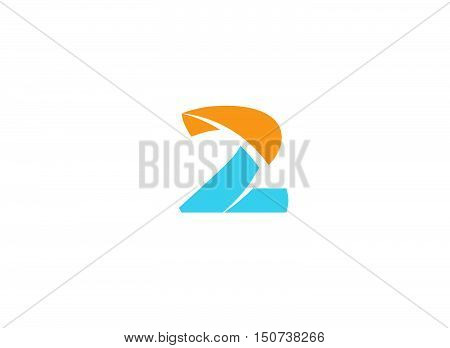 Number 2 logo. Vector logotype design . Vector illustration of abstract icons