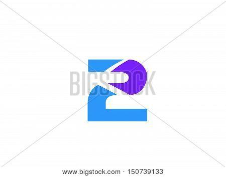 Vector sign logo number 2 design vector template