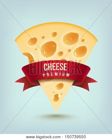 cheese with red ribbon (piece of cheese with holes)