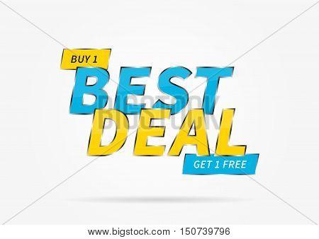 Banner Best Deal Buy 1 Get 1 Free vector illustration.