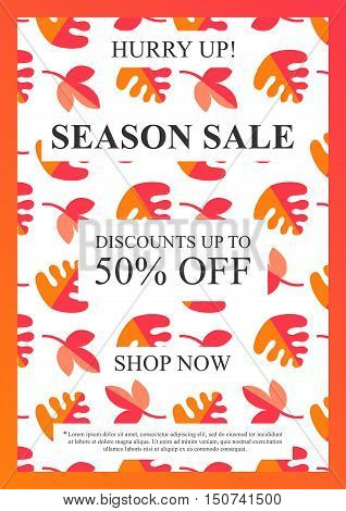 Vector Season Sale banner with autumn leaves pattern for online stores websites retail posters social media ads. Creative banner layout for m-commerce sale materials coupons advertising.