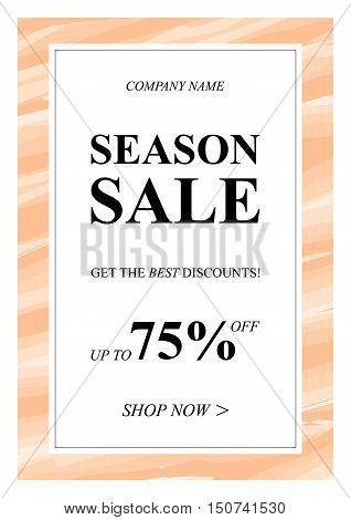 Vector Season Sale banner with watercolor background for online stores websites retail posters social media ads. Creative banner layout for m-commerce sale materials coupons advertising.
