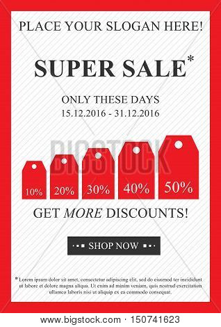 Vector promotional Super Sale banner for online stores websites retail posters social media ads. Creative banner layout for m-commerce mobile applications sale materials coupons advertising.