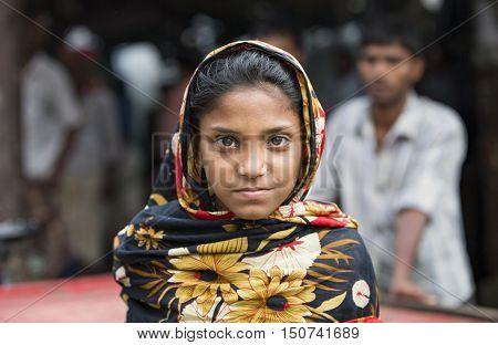 Chittagong Bangladesh February 25th 2016: Portrait of a young bangladeshi girl in a sari