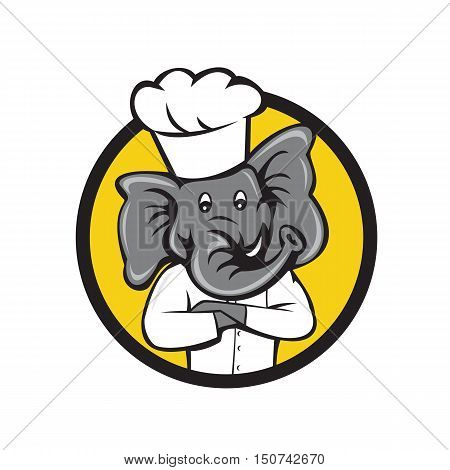 Illustration of a chef elephant wearing chef's hat with arms crossed viewed from front set inside circle on isolated background done in cartoon style.