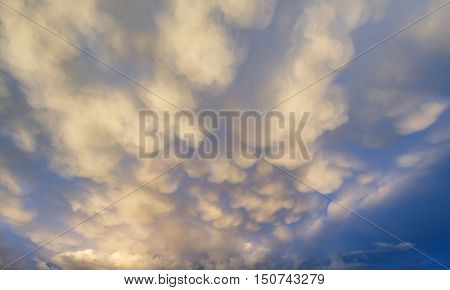 Stunning Dramatic Mammatus Clouds Formation Immediately Prior To Violent Storm