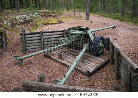 VIROLAHTI, FINLAND - AUGUST 30, 2016: 75-mm antitank gun during the Second world war on the position of the defensive line