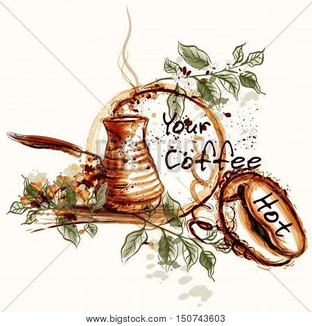 Coffee vector design with fresh coffee grains and branches. Hot morning coffee