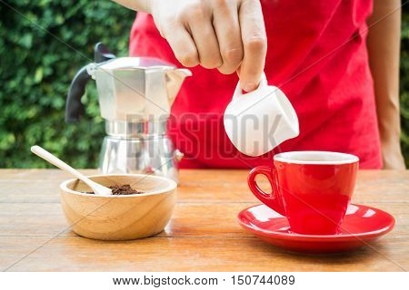Homemade cup of hot espresso stock photo