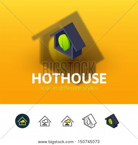 Hothouse color icon, vector symbol in flat, outline and isometric style isolated on blur background