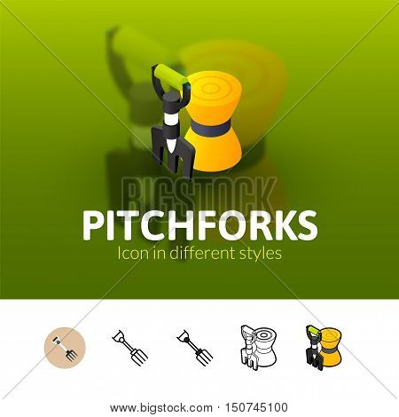 Pitchforks color icon, vector symbol in flat, outline and isometric style isolated on blur background