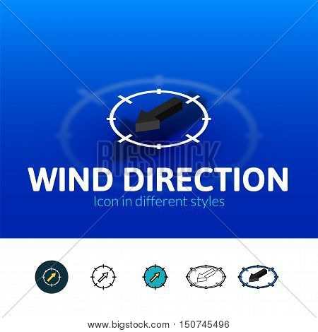 Wind direction color icon, vector symbol in flat, outline and isometric style isolated on blur background
