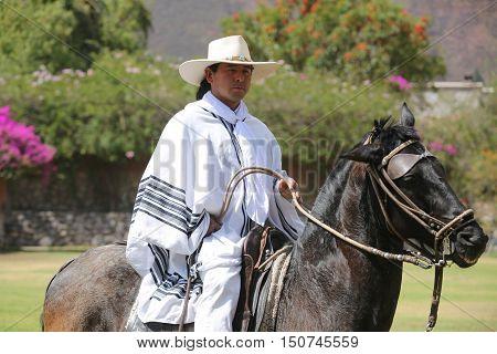 URUBAMBA, PERU - OCTOBER 1, 2016: Peruvian Gaucho on Paso Horse in Urubamba, Sacred Valley, Peru