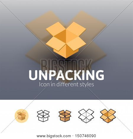 Unpacking color icon, vector symbol in flat, outline and isometric style isolated on blur background
