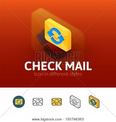 Check mail color icon, vector symbol in flat, outline and isometric style isolated on blur background