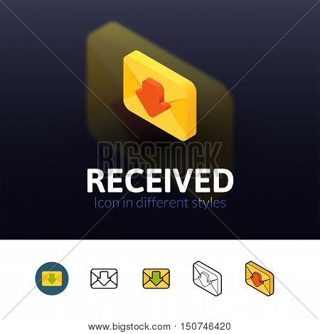Recived color icon, vector symbol in flat, outline and isometric style isolated on blur background