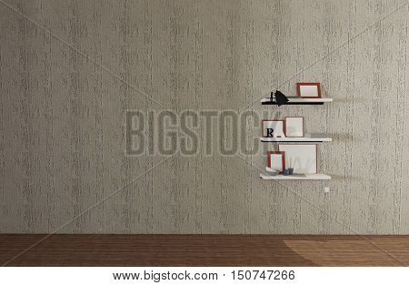 Many objects on wooden shelf with wall background and copyspace-3d rendering