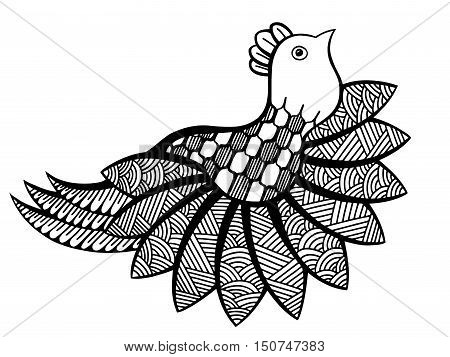 Vector ornamental funny bird, ethnic zentangled mascot, amulet, mask of bird, patterned animal for adult anti stress coloring pages. Hand drawn totem illustration isolated on background.