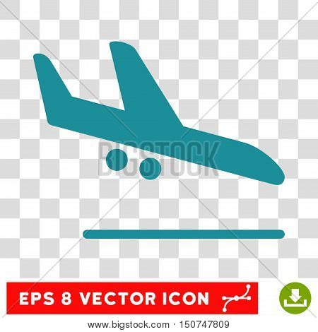 Vector Aiplane Landing EPS vector pictograph. Illustration style is flat iconic soft blue symbol on a transparent background.