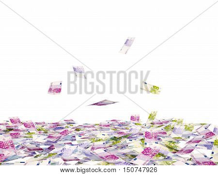 Heap of EUR bills and falling EUR bills isolated on white background. 3D illustration
