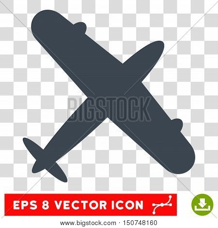 Vector Aeroplane EPS vector pictogram. Illustration style is flat iconic smooth blue symbol on a transparent background.