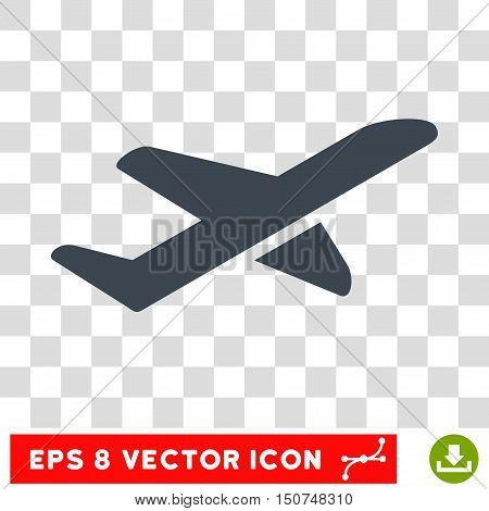 Vector Airplane Takeoff EPS vector icon. Illustration style is flat iconic smooth blue symbol on a transparent background.