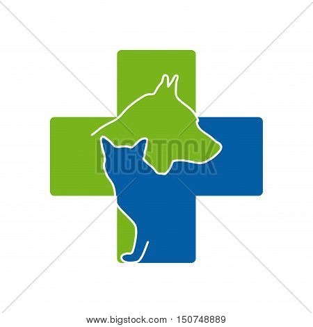 Vector sign Veterinary, isolated cat and dog