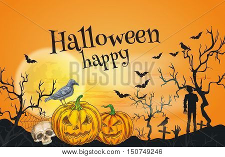 Happy Halloween orange greeting card template. Traditional october celebration decoration banner, poster with vector Halloween symbols of pumpkin lantern, skull, undead zombie walking on cemetery