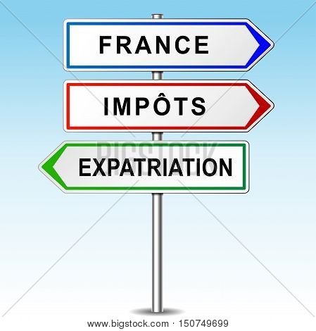 Illustration of arrows for france tax and expat