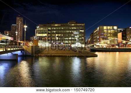 MALMO SWEDEN - AUGUST 16 2016: View of beautiful night scene and Malmo canals from Posthusplatsen in Malmo Sweden on August 16 2016.