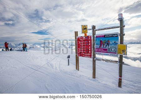 Kitzbuehel, Austria - February 17, 2016 - Maps With Ski Slopes At Kitzbuehel Ski Area. It Is The One