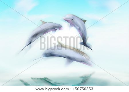 Dolphins against a background of the ocean waves. 3D illustration