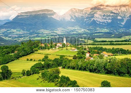 Beautiful landscape view on Prebois mountain village near Ecrins national park on the south-east of France
