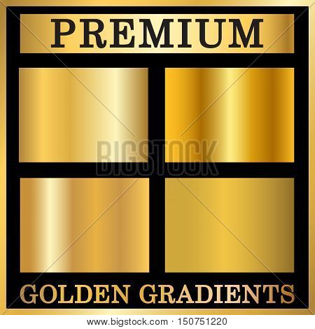 Gold texture square patterns set. Light realistic shiny metallic empty golden gradient templates collection. Vector Illustration