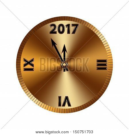 Gold christmas magic clock background. Golden shiny design. Symbol of Happy New Year 2017 holiday countdown. Vector illustration